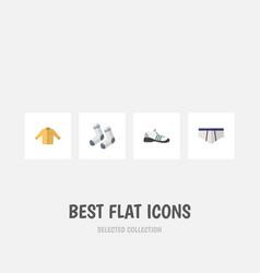 Flat icon garment set of banyan foot textile vector