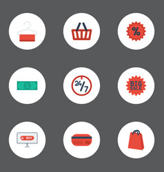 flat icons cash pouch percentage and other vector image