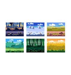 flat set 6 seamless backgrounds vector image