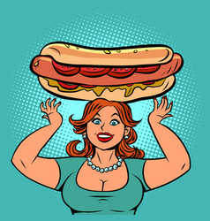 funny woman with a big hot dog vector image