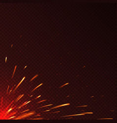 glowing red fire sparks isolated background vector image