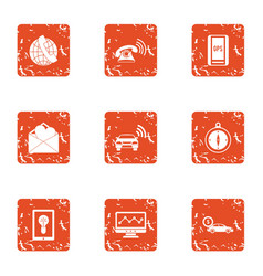 Gps call service icons set grunge style vector
