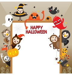 Halloween Cartoon Character On Frame vector image