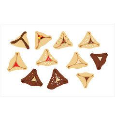 Hamantaschen - jewish traditional cookies for vector