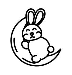 happy mid autumn festival cute bunny sleeping vector image