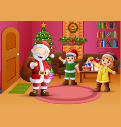 Happy santa and two kids in the living room with c vector