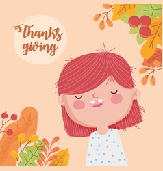 happy thanksgiving day cute girl leaves berries vector image