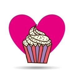 Heart pink cartoon cupcake chips sweet icon design vector