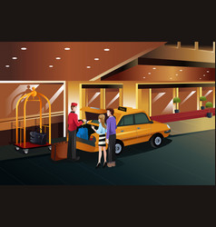 hotel bellboy helping customers vector image