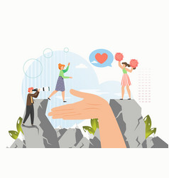 human hand helping to reach target in business vector image