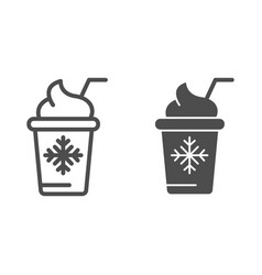 Ice cream in paper cup line and glyph icon frozen vector