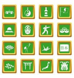 japan icons set green vector image