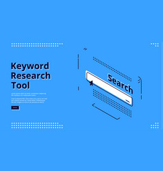 keyword research tool banner with search line vector image