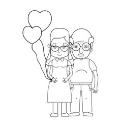 Line old coupe people with glasses and hairstyle vector