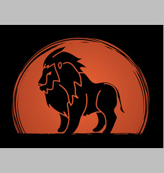 Lion standing side view graphic vector