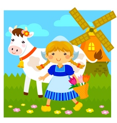 Little Dutch girl vector