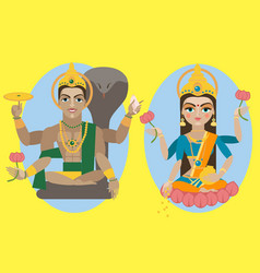 lord vishnu and mata lakshmi vector image