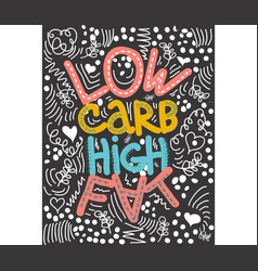 Low carb high fat lettering keto diet hand drawn vector