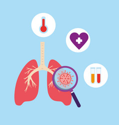 lungs with set icons covid19 19 vector image