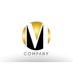 m black white gold golden letter logo design vector image