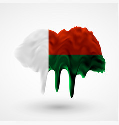 madagascar flag of laos painted colors vector image