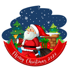 Merry christmas 2020 font banner with cute santa vector