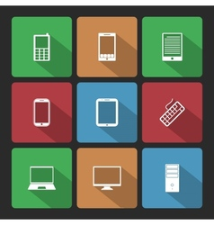 Mobile and Computers Icons Set with Long Shadow vector