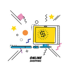Monitor computer with shopping online concept vector