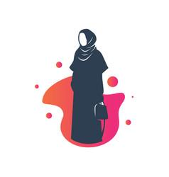 Muslim hijab fashion logo vector