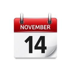 November 14 flat daily calendar icon vector