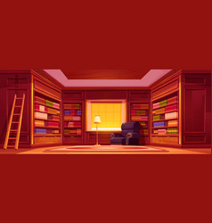 old luxury library interior with bookcases vector image