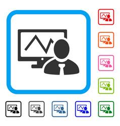 Online trader framed icon vector
