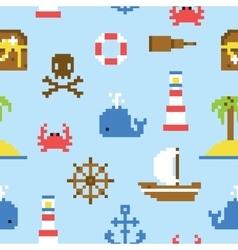 Pixel art marine seamless pattern vector