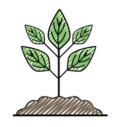 Plant with ground to save and care environment vector
