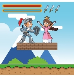 Princess warrior and videogame design vector