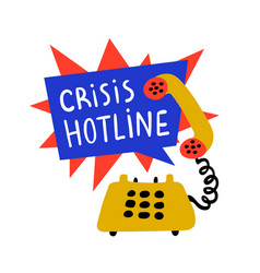 Psychology crisis hotline support call vector