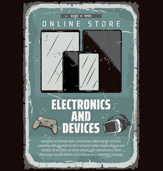Retro poster for electronic devices shop vector