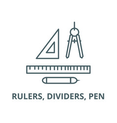rulers dividers pen line icon linear vector image