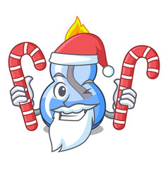 Santa with candy alcohol burner mascot cartoon vector
