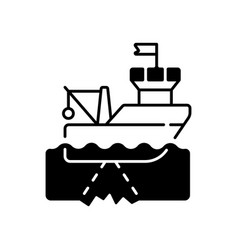 Seafloor mapping black linear icon vector