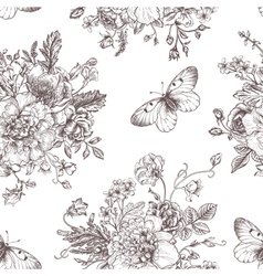 Seamless vintage pattern with bouquet vector