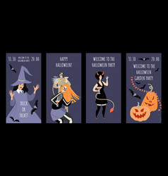 set invitation banners for halloween party vector image