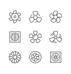 Set line icons of fan vector