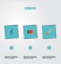 set of music icons flat style symbols with treble vector image