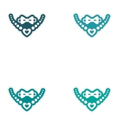 Set of paper stickers on white background tie and vector