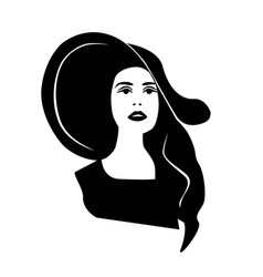 silhouette of a woman in a black hat vector image