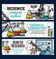 Sketch banners for science and research vector