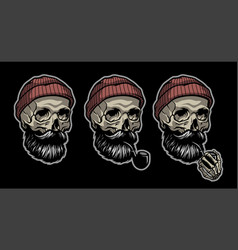 skull a sailor in a knitted hat and with a vector image