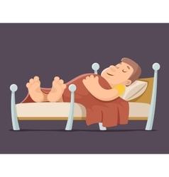 Sleep man bed rest night blanket pillow cartoon vector image