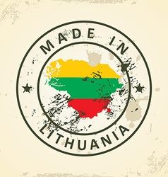 Stamp with map flag of Lithuania vector